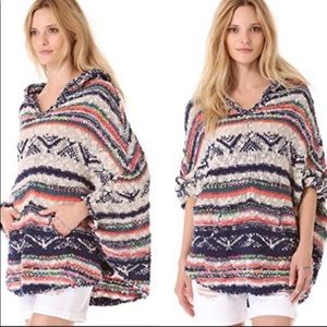 Free People Bubble Tea Patterned Poncho Sweater
